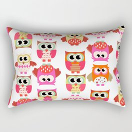 Funny cute hot pink yellow owl pattern Rectangular Pillow