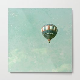 Vintage Red, White, and Blue Hot Air Balloon on Robin's Egg Blue Metal Print