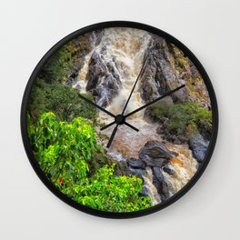 Waterfall in the rainforest Wall Clock