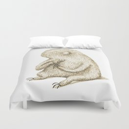 Sloth With Flower Duvet Cover