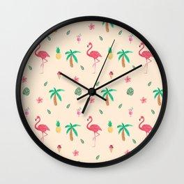 Cute Watercolor Pink Flamingos and Palm Trees Wall Clock