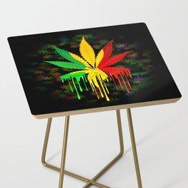 Marijuana Leaf Rasta Colors Dripping Paint Side Table