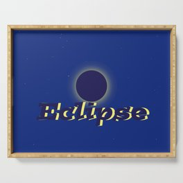 Total Eclipse in Blue Serving Tray