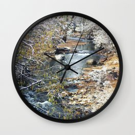 A Creek on a Snowy Day in Boulder, Colorado II Wall Clock