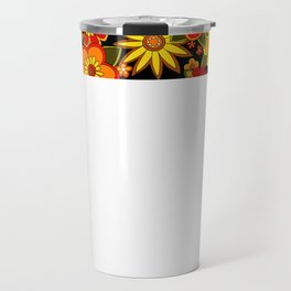 Super groovy flowers Black base orange Travel Mug
