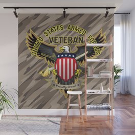 United States Armed Forces Military Veteran - Proudly Served Wall Mural