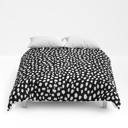 Handmade polka dot brush strokes (black and white reverse dalmatian) Comforters