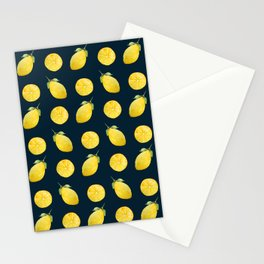 Watercolor Lemon Pattern Stationery Cards