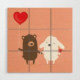 Cute cartoon bear and bunny rabbit holding hands Wood Wall Art