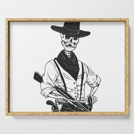 Sheriff with mustache and rifle Serving Tray