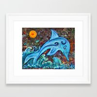 dolphin Framed Art Prints featuring Dolphin by gretzky