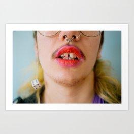 lucky (lipstick on teeth) Art Print