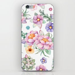 Pastel pink lavender green watercolor hand painted floral iPhone Skin