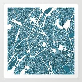 Brussels City Map I Art Print