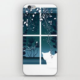 White Kitty Cat Window Watcher iPhone Skin