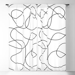 Minimal Black and White Abstract Line Blackout Curtain