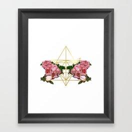 Geometric Peonies Framed Art Print