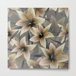 Lily. Grey beige floral pattern . Metal Print