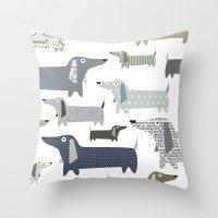 daschund Throw Pillows featuring Weiner Dog Pattern by Taylor Engelsman