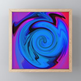 Swirl Abstract Pink Blue Neon  Framed Mini Art Print