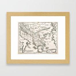 Vintage Map of Greece (1525) Framed Art Print