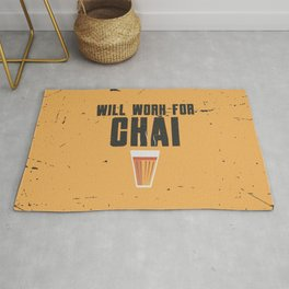 Funny Will Work For Chai Quote Rug