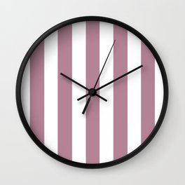 English lavender violet - solid color - white vertical lines pattern Wall Clock