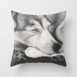 Sleeping Wolf Throw Pillow