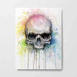Skull Rainbow Watercolor Painting Skulls Metal Print