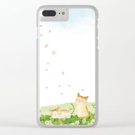 Funny Cats Singing under Cherry Blossoms Clear iPhone Case