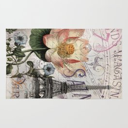french scripts lotus floral vintage paris eiffel tower Rug