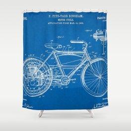 1910 F. Fitz-Tarr Bingham Motorcycle Patent Blueprint Shower Curtain