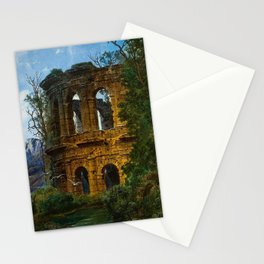 Roman Italian Ruins At Twilight with flying birds in foreground landscape painting by Ferdinand Knab Stationery Cards