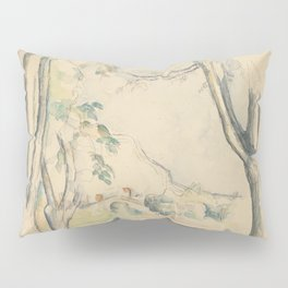 Mont Sainte-Victoire Seen beyond Wall Enhanced Vintage Watercolor Pillow Sham