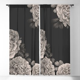 Flowers on a winter night Blackout Curtain