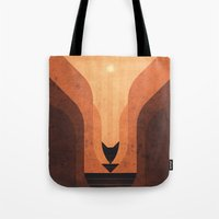 titan Tote Bags featuring Titan - Lakes of Titan by Fabled Creative