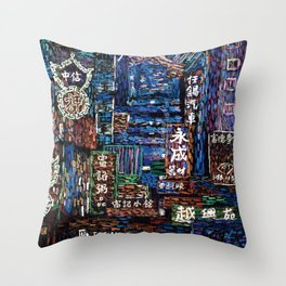 Neon City Throw Pillow