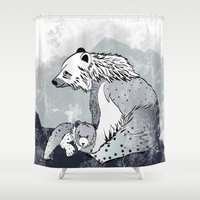 nordic Shower Curtains featuring Nordic Bears by Pencil Studio