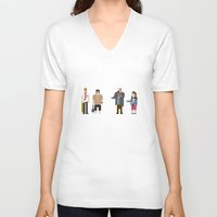 shaun of the dead V-neck T-shirts featuring 8-bit Shaun of The Dead by MrHellstorm
