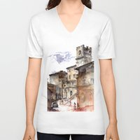 italy V-neck T-shirts featuring Cortona, Italy by zawij