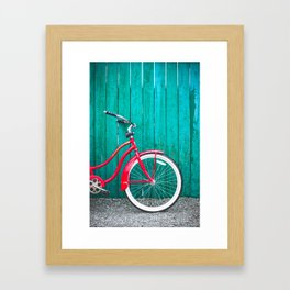 Red Retro Bicycle Framed Art Print