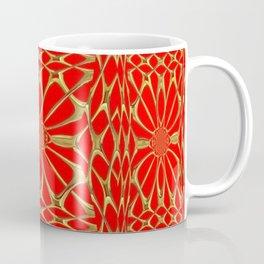 Modernistic Red-Gold Metallic Floral Web Art Design Coffee Mug
