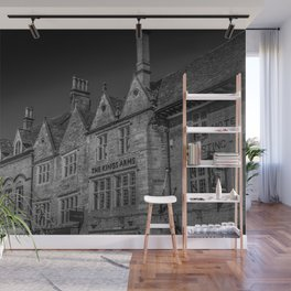 Stow-on-the-Wold Market Square Black and White Dynamic Historic Cotswolds Wall Mural