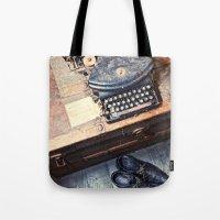 typewriter Tote Bags featuring Typewriter by Shaun Lowe