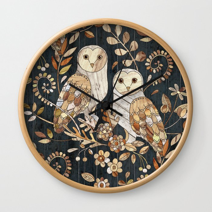 Wooden Wonderland Barn Owl Collage Wall Clock