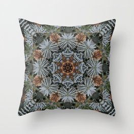 Spruce Cones And Needles Kaleidoscope K4 Throw Pillow