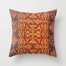 Arabic Rug I // 17th Century Rich Bright Colorful Red Yellow Indigo Blue Ornate Accent Pattern Throw Pillow
