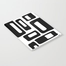 Retro Mid Century Modern Abstract Pattern 336 Black and White Notebook