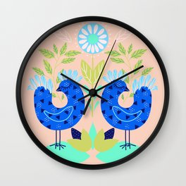 Folk art fairy birds pattern Wall Clock