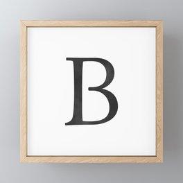 Letter B Initial Monogram Black and White Framed Mini Art Print